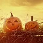 Halloween en een pompoen met een lichtje