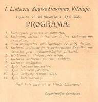 Agenda Grote Seimas Vilnius / Bron: Organizational Committee of the Great Seimas of Vilnius, Wikimedia Commons (Publiek domein)