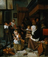 Jan Steen, Sint-Nicolaasfeest (1663-1665) / Bron: Jan Steen (1625 1626–1679), Wikimedia Commons (Publiek domein)