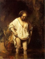 Badende vrouw (1654) / Bron: Rembrandt, Wikimedia Commons (Publiek domein)