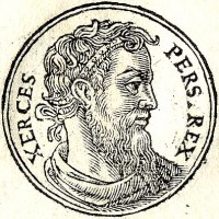 Xerxes, leider van de Perzen  / Bron: Published by Guillaume Rouille (1518-1589), Wikimedia Commons (Publiek domein)