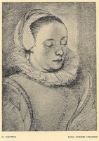 Anna Roemerrsd. Visscher / Bron: Engraving by Hendrick Goltzius (1558-1617), Wikimedia Commons (Publiek domein)