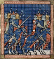 Franse ridders en hun koning Philip II / Bron: Chroniques de Saint-Denis, Wikimedia Commons (Publiek domein)