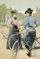 François Courboin - 'Bicycling: The Ladies of the Wheel', prent uit 1896. / Bron: François Courboin, Wikimedia Commons (Publiek domein)